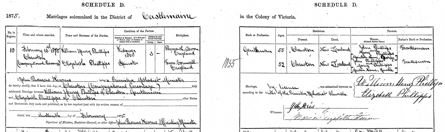 Marriage Certificate for William Henry Phillips Snr's second marriage to Elizabeth Phillipps