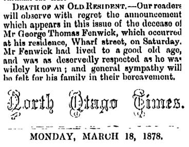 Death Notice - George Thomas Fenwick
