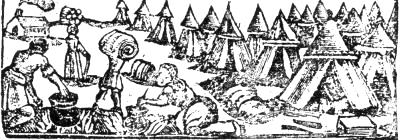 Contemporary Woodcut, showing the Palatines encamped on Blackheath outside London. Courtesy of the Widener Library, Harvard University